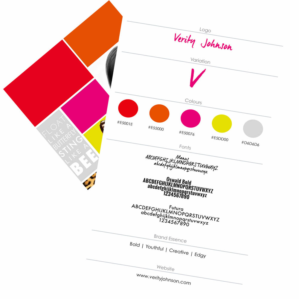 Brand Style - After a thorough review of Verity's unique strengths and values, where she wants to take her career and the competition in her field, we helped her clarify her unique brand essence that would both feel authentic and help her stand out.To capture Verity's brand essence visually, we developed a bold, high energy color palette including animal print patterns, along with modern sans serif fonts and an artistic script logo.