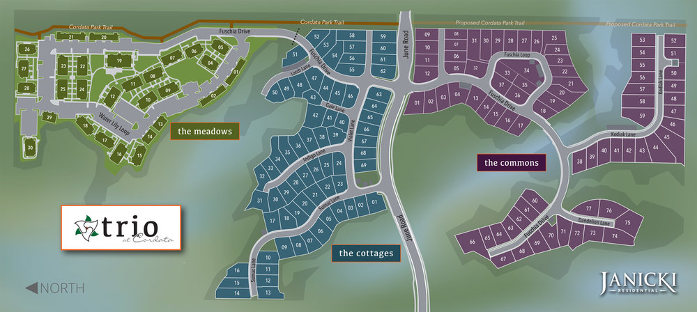 Map of  TRIO at Cordata  - Three New Home Communities, One Harmonious Neighborhood in Bellingham.