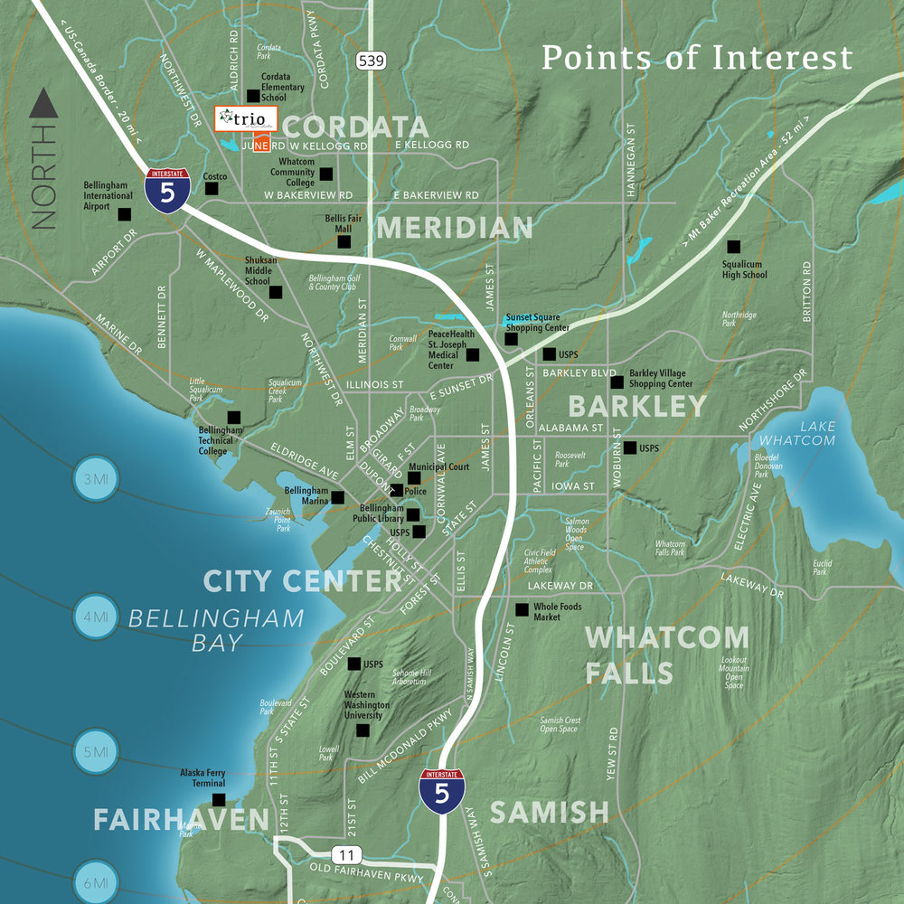 Map of Bellingham, Washington showing city neighborhoods, schools, shopping, entertainment, and other attractions.