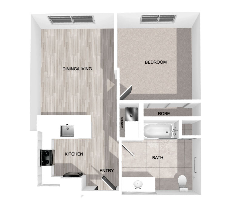 660 Sq Ft 1-Bedroom
