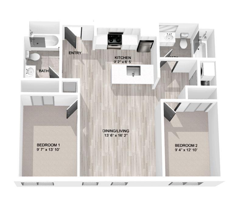 900 Sq Ft 2-Bedroom