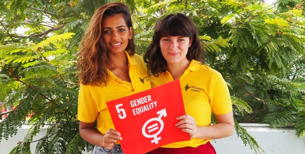 Pollinate Energy City Co-leaders Meenal and Eloise promoting Gender Equality, one of the official 17 Sustainable Development Goals