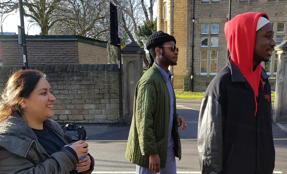 Sadia Rafique (Creative Director), Nickque (Art Director) and Kay (Photographer) walking the mean streets of Sheffield during the Forge Denim photoshoot.