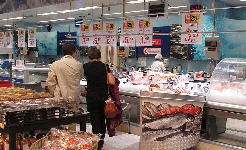 Fish counter inside supermarket