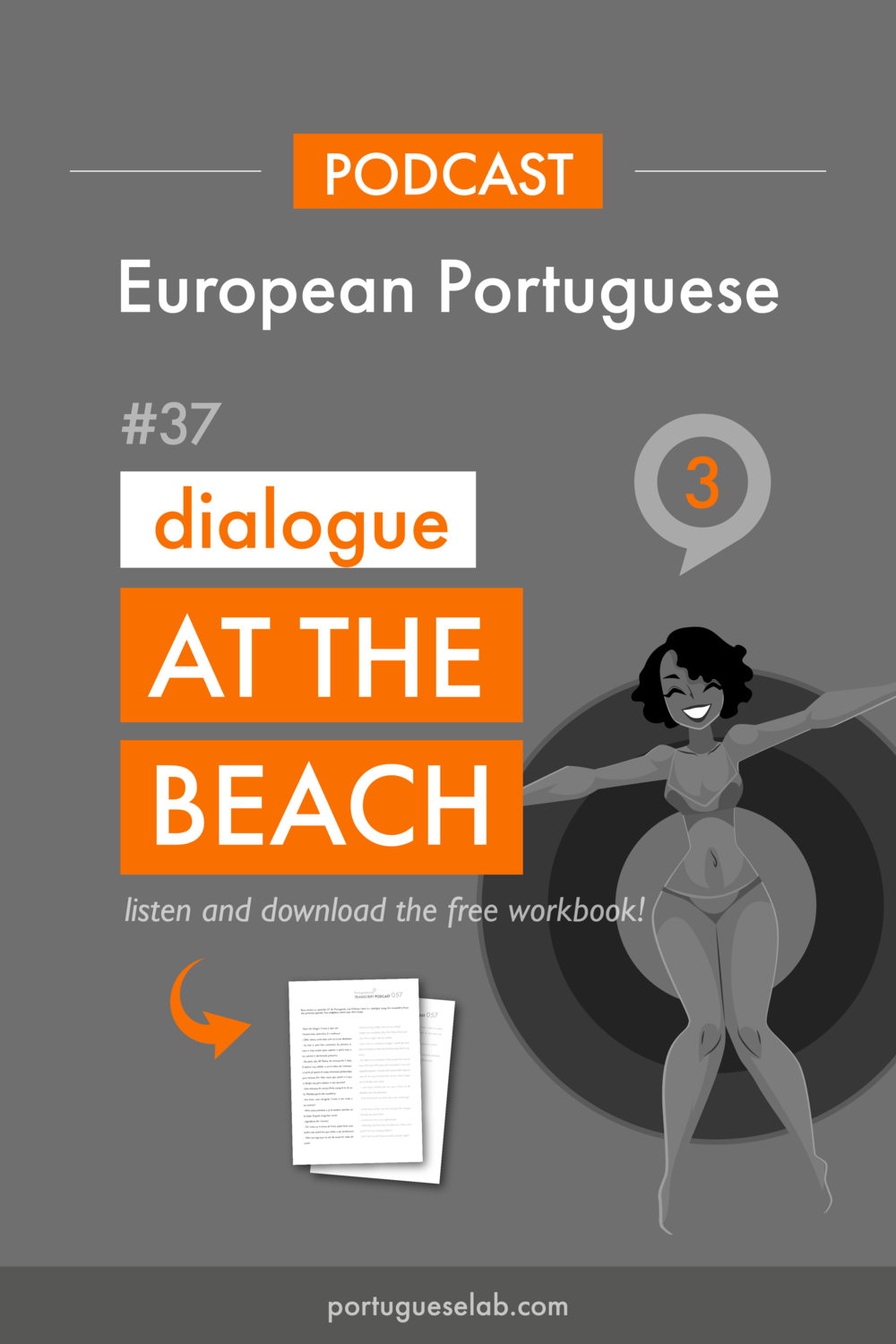 Portuguese Lab Podcast - European Portuguese - 37 - Dialogue at the beach.png