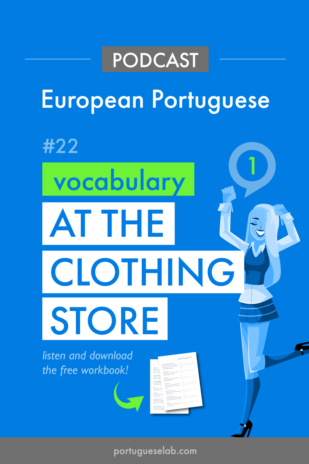 Portuguese Lab Podcast - European Portuguese - 22 - Vocabulary at the clothing store.png