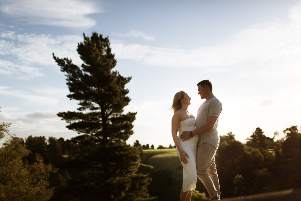 Pregnancy announcement. Couple celebrating their pregnancy during golden hour maternity session at location in Berwick.