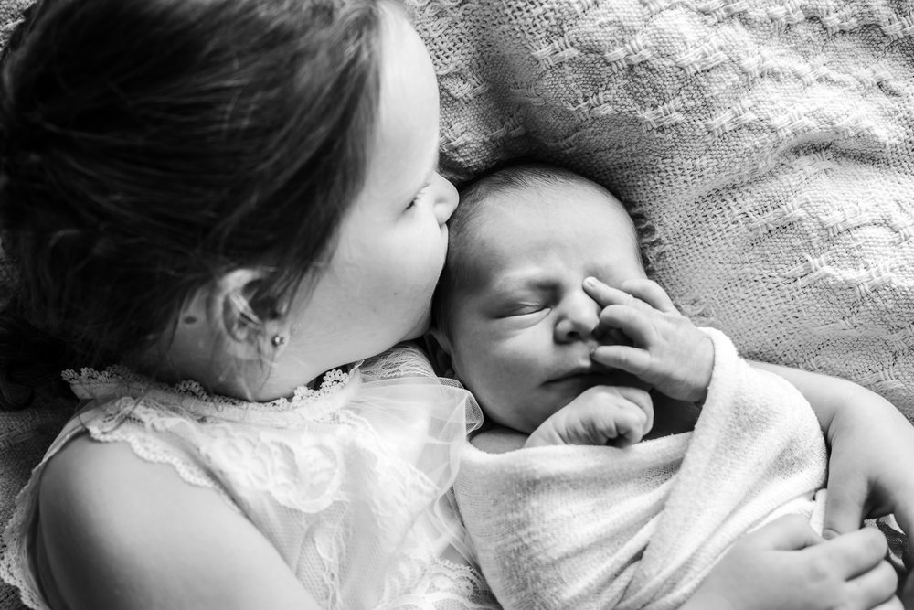 brother and sister during lifestyle newborn session at home location on Mornington Peninsula