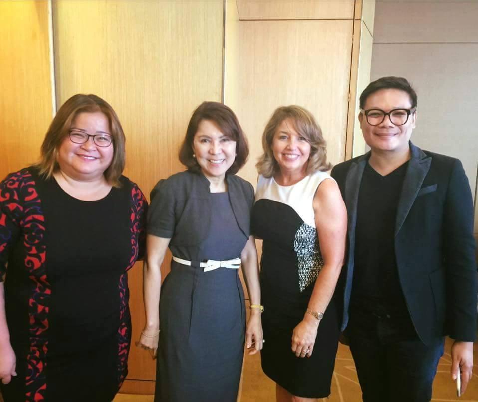 DOT Undersecretary Kat de Castro, Secretary Wanda Teo, MUO President Paula Shugart and talent manager Jonas Mercator