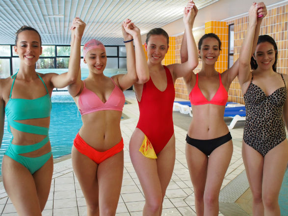 Filipa (C) took gold at Miss Portuguesa´s swimming heat! (GB photo/Henrique Fontes)