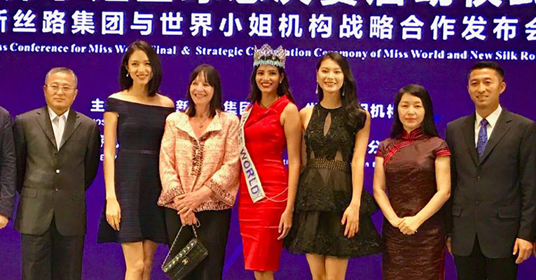 Julia Morley was joined by both former Miss Worlds from China during the press conference to announce that China will host for the 8th time