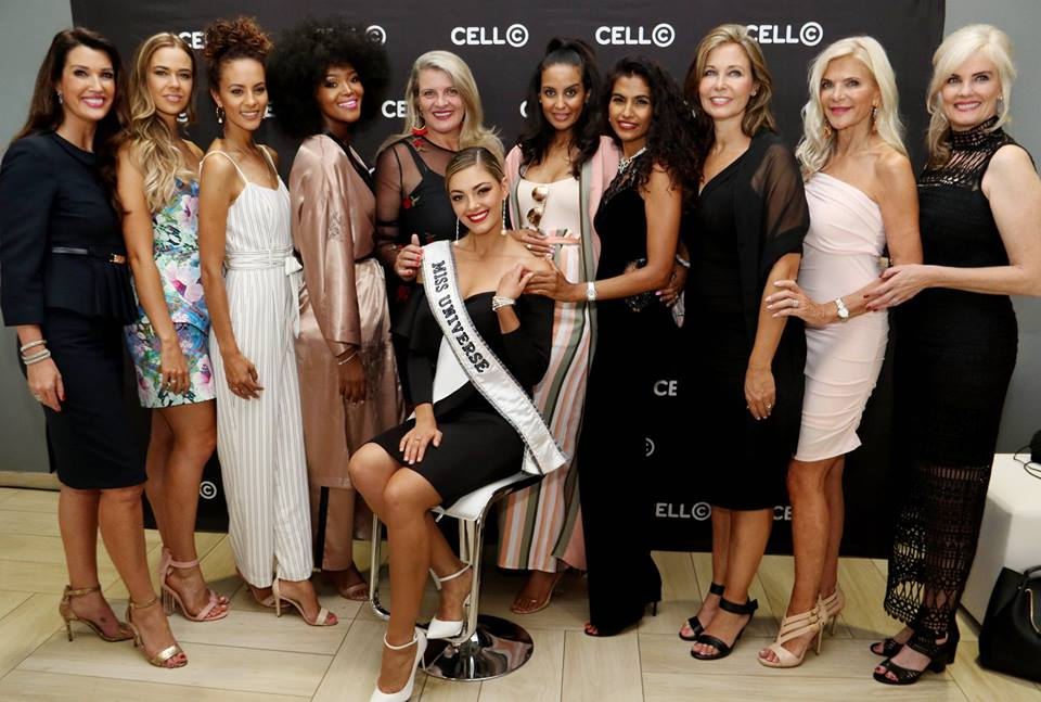 BEAUTY GALORE: (L-R) Former Miss South Africas Suzette van der Merwe (90), Dr. Ade van Heerden (who took over Nel-Peters' title), Marilyn Ramos (2012), Bokang Montjane (2010), Lorna Potgieter (84), Tansey Coetzee (2007), Kerishnie Naicker (97), Odette Scrooby (82), Yolanda Kloppers (78) and Andrea Stelzer (85) pose with Miss Universe Demi-Leigh Nel-Peters