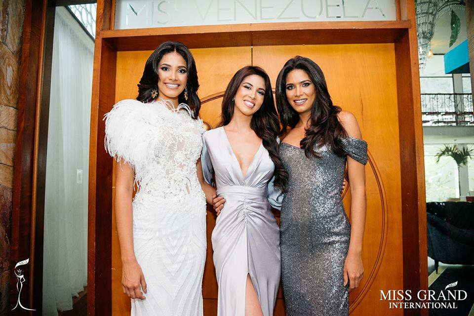 MISS GRAND VENEZUELA 2018 BILIANNIS ALVAREZ with the reigning Miss Grand International, Maria Jose Lora and her runner-up Tulia Aleman