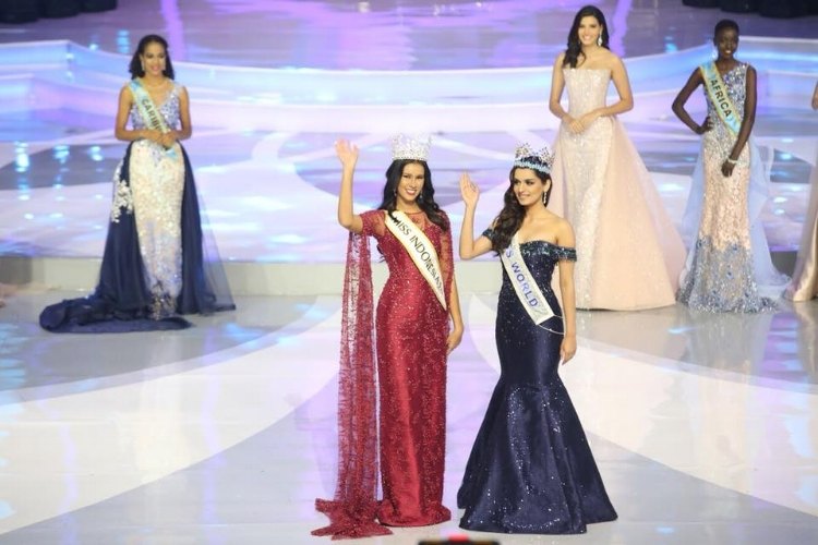 Achintya Nilsen and Manushi Chhillar take to the stage to crown Miss Indonesia 2018