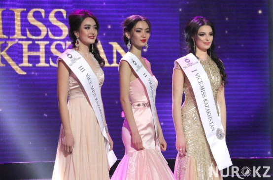 According to the NUR Kz, the first runner-up (far right) will represent her country at the 67th Miss Universe Competition
