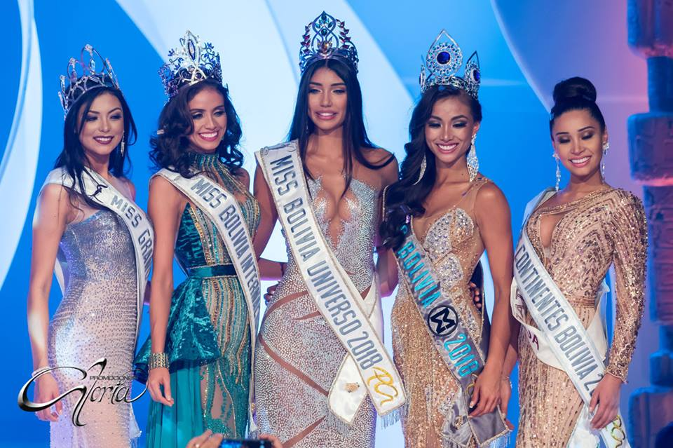 Miss Grand Bolivia, Miss International Bolivia, Miss Universe Bolivia, Miss World Bolivia, Miss United Continents Bolivia
