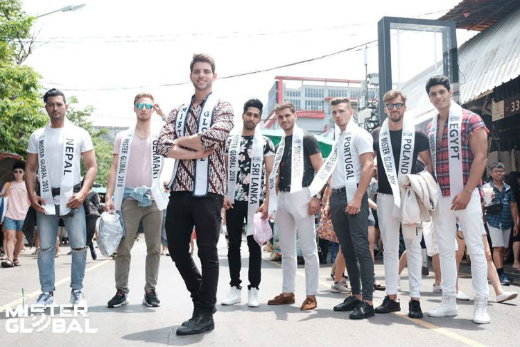 Mister Global 2017 Pedro Gicca and some of the 2018 candidates in exciting Bangkok.