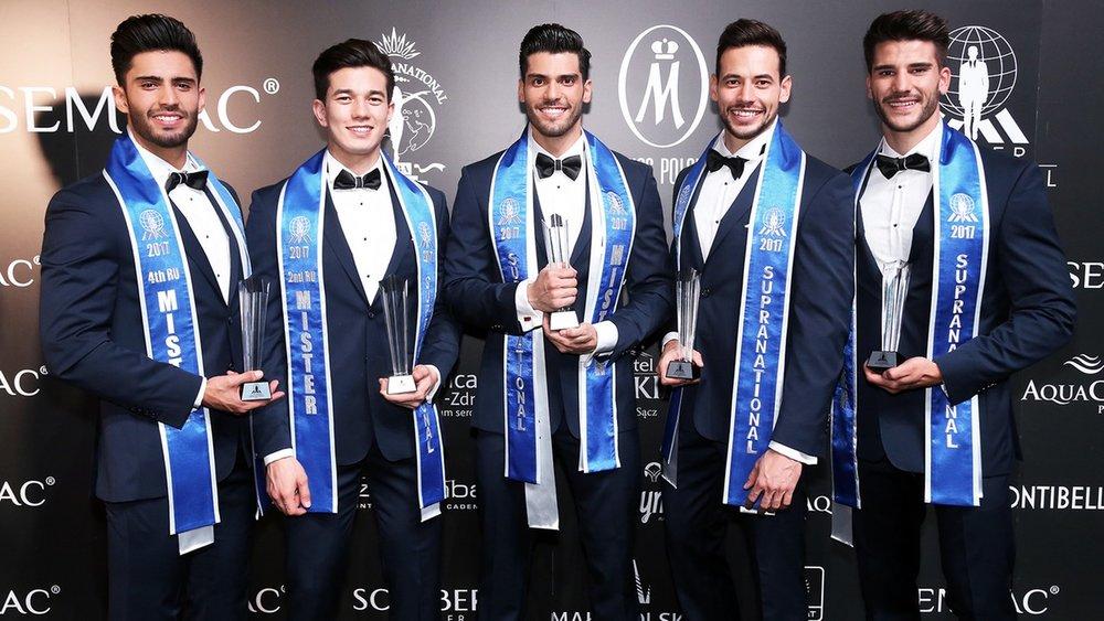 Mister Venezuela, Gabriel Correa (center), took the title last year