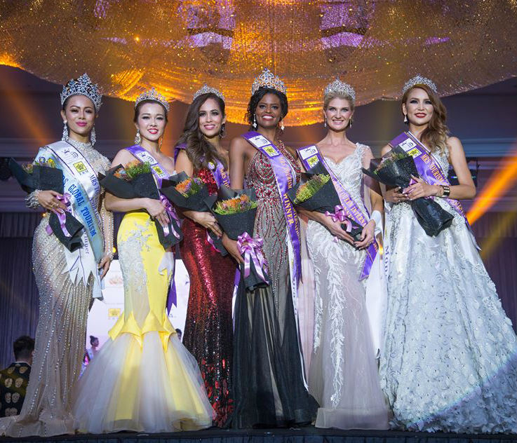 Myanmar (Mrs Global Tourism special award), Malaysia (4th), Mexico (2nd), Brazil (winner), South Africa (3rd) and Mongolia (5th).
