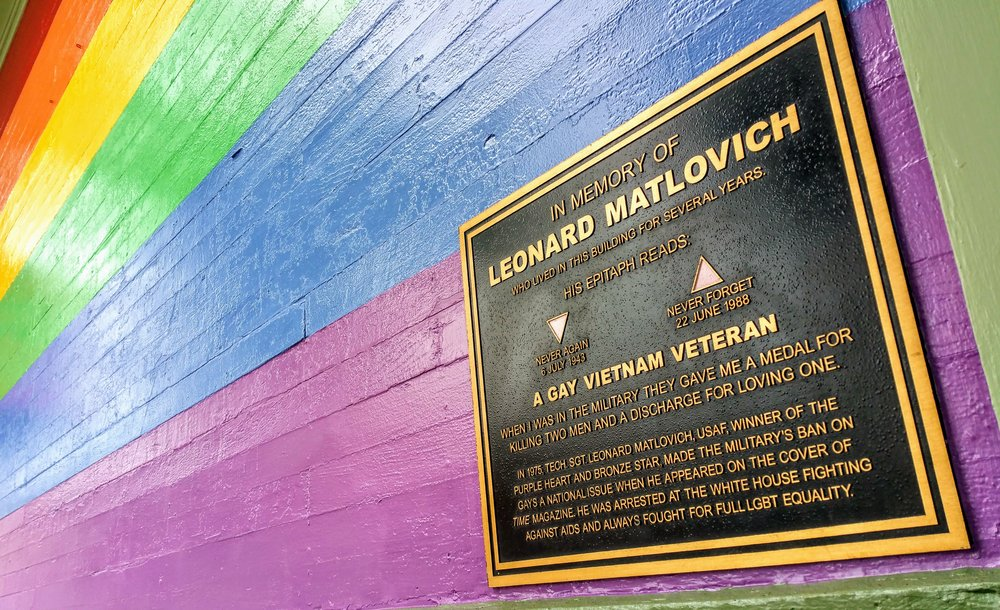 Memorial plaque outside of Matlovich's former apartment building.