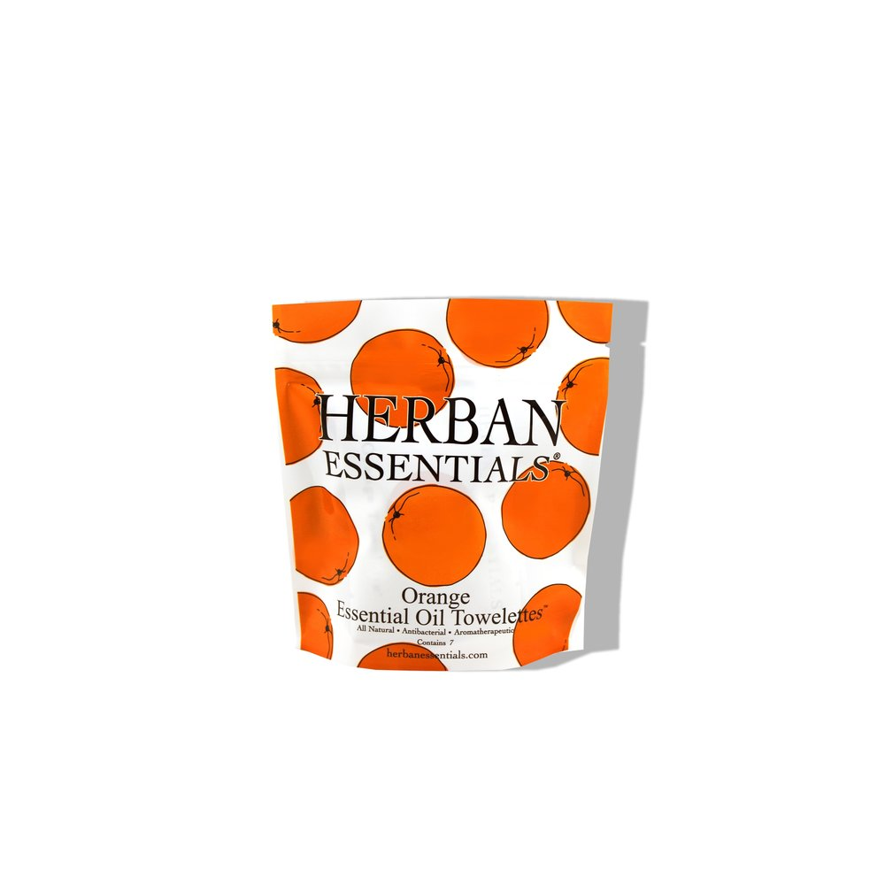 Herban Essentials Orange Essential Oil Multi-use Towelettes