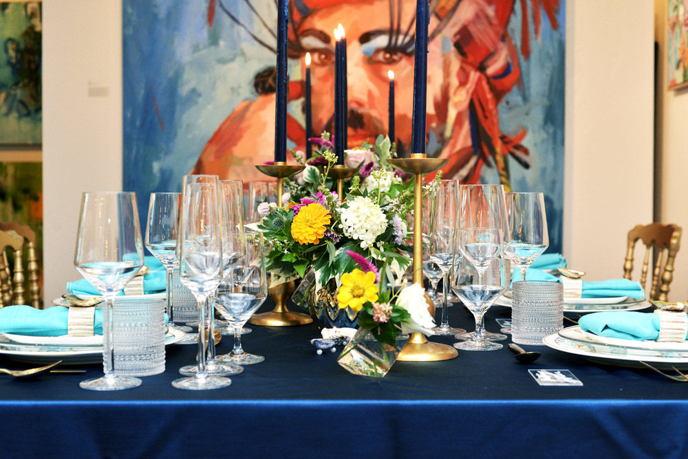 A killer tablescape made by the joint forces of Yoj Events, Frampton's Flowers, and Coastal Kelder.