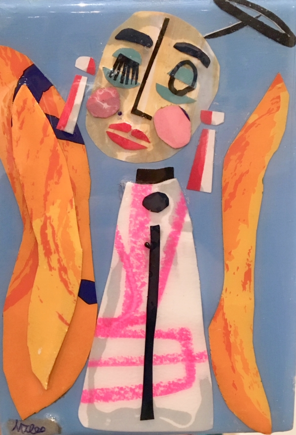 Lucia by Miles Purvis, collage and resin on panel, $110