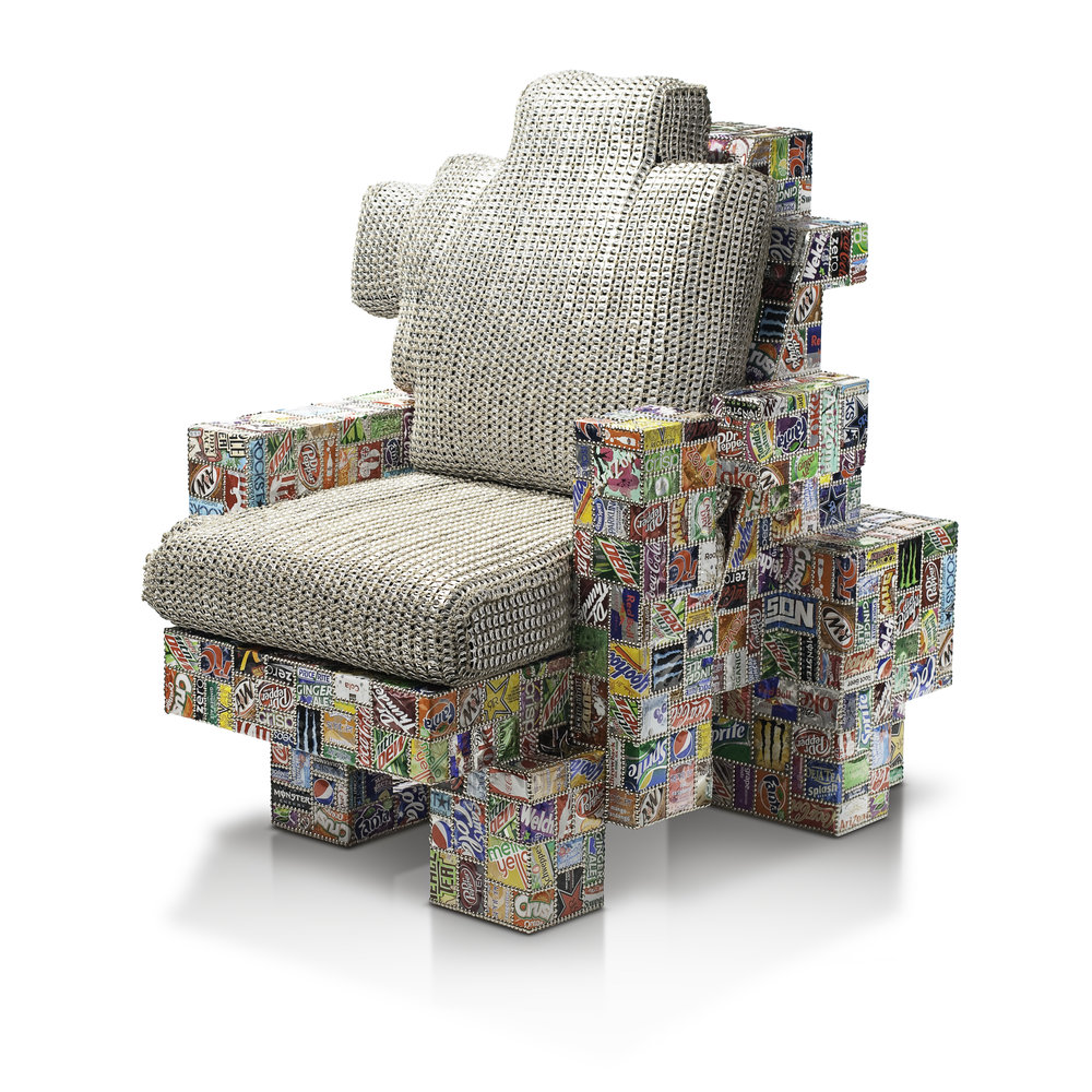 Punch Chair - Wood, soda cans, can tabs, upholstery nails, hemp string, goose down44