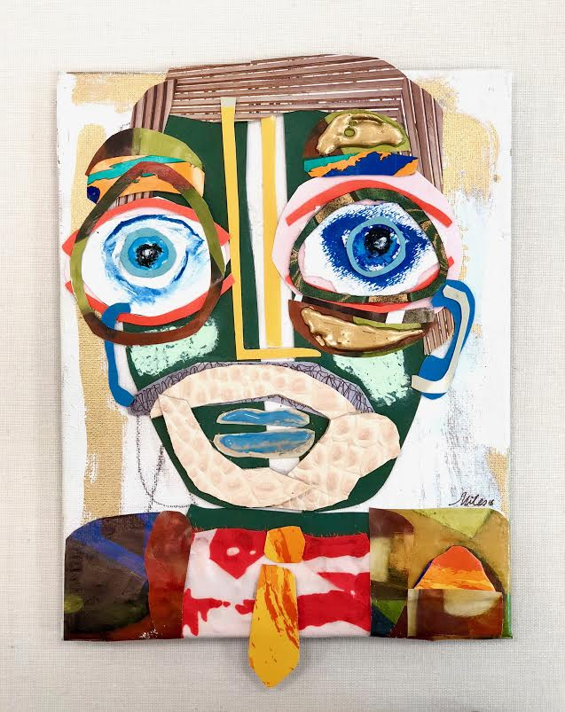 """Alfred - 12"""" x 9"""" mixed media on panel, shadow box frame$450"""