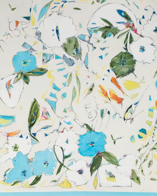 """Hydrangea, Blueberries & Sapphire - Teresa Roche36"""" x 43"""" Mixed media on paper, framedSOLD"""