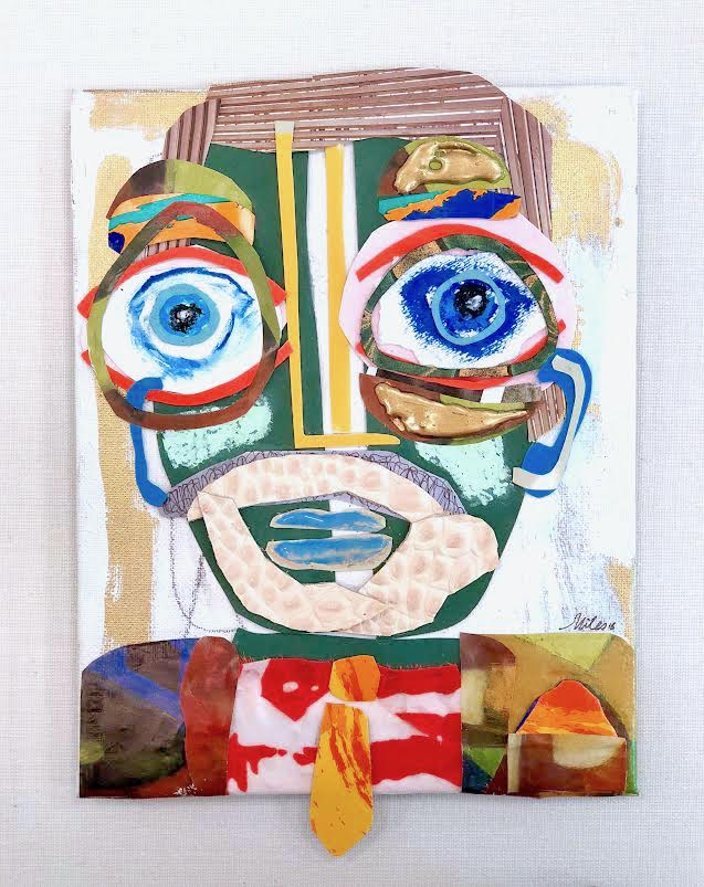 "Alfred - Miles Purvis Daniel12"" x 9"" mixed media on panel,shadow box frame$450"