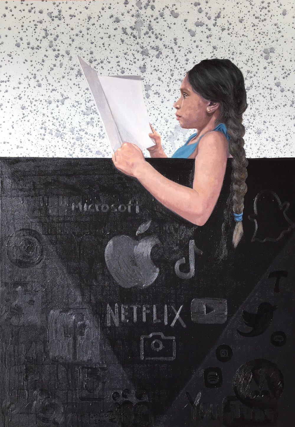 "Dark Readings - 30"" x 40""Oil on canvas$1500"