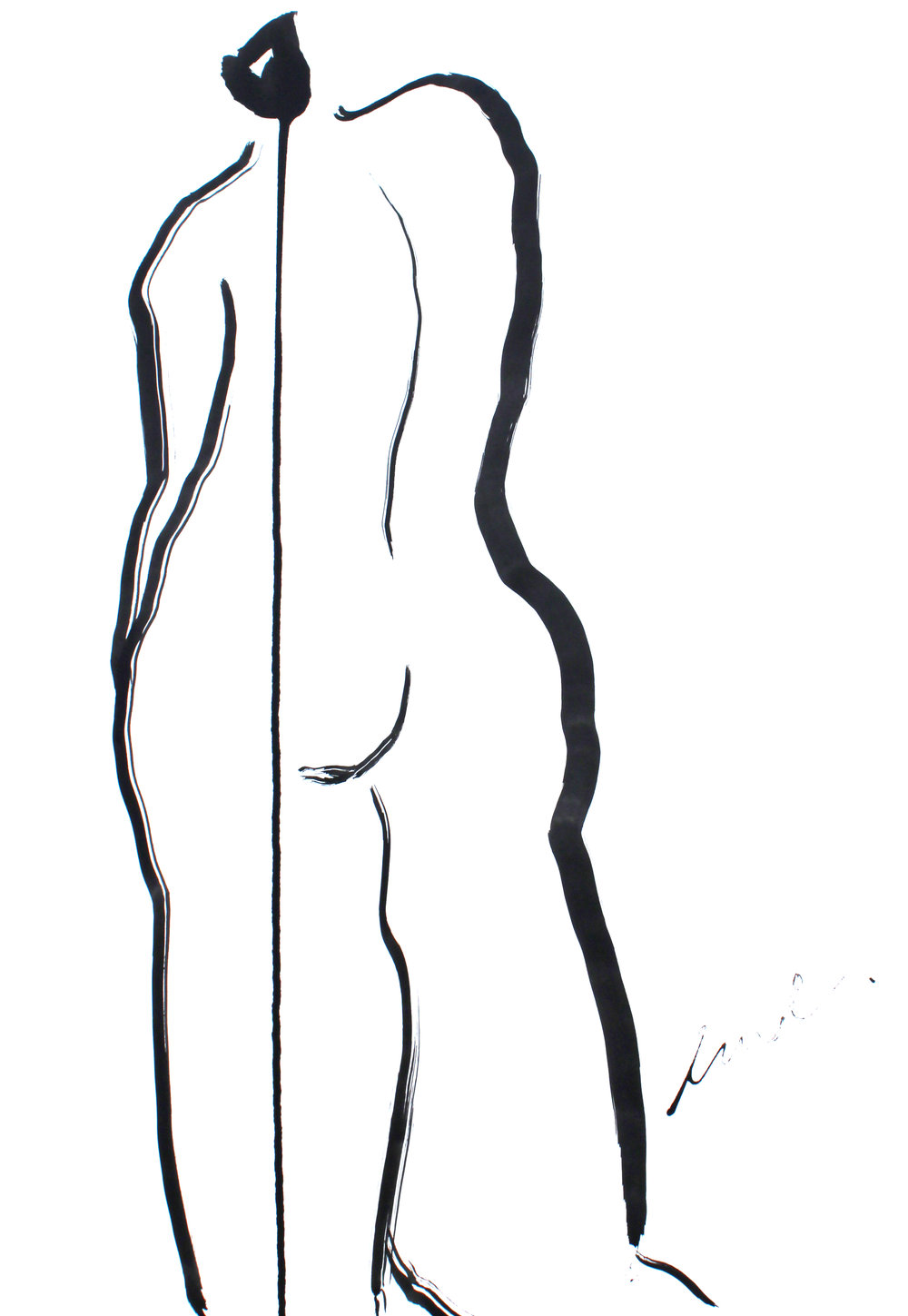 """Lady in Ink XX - 24"""" x 18"""" ink on paper$350"""