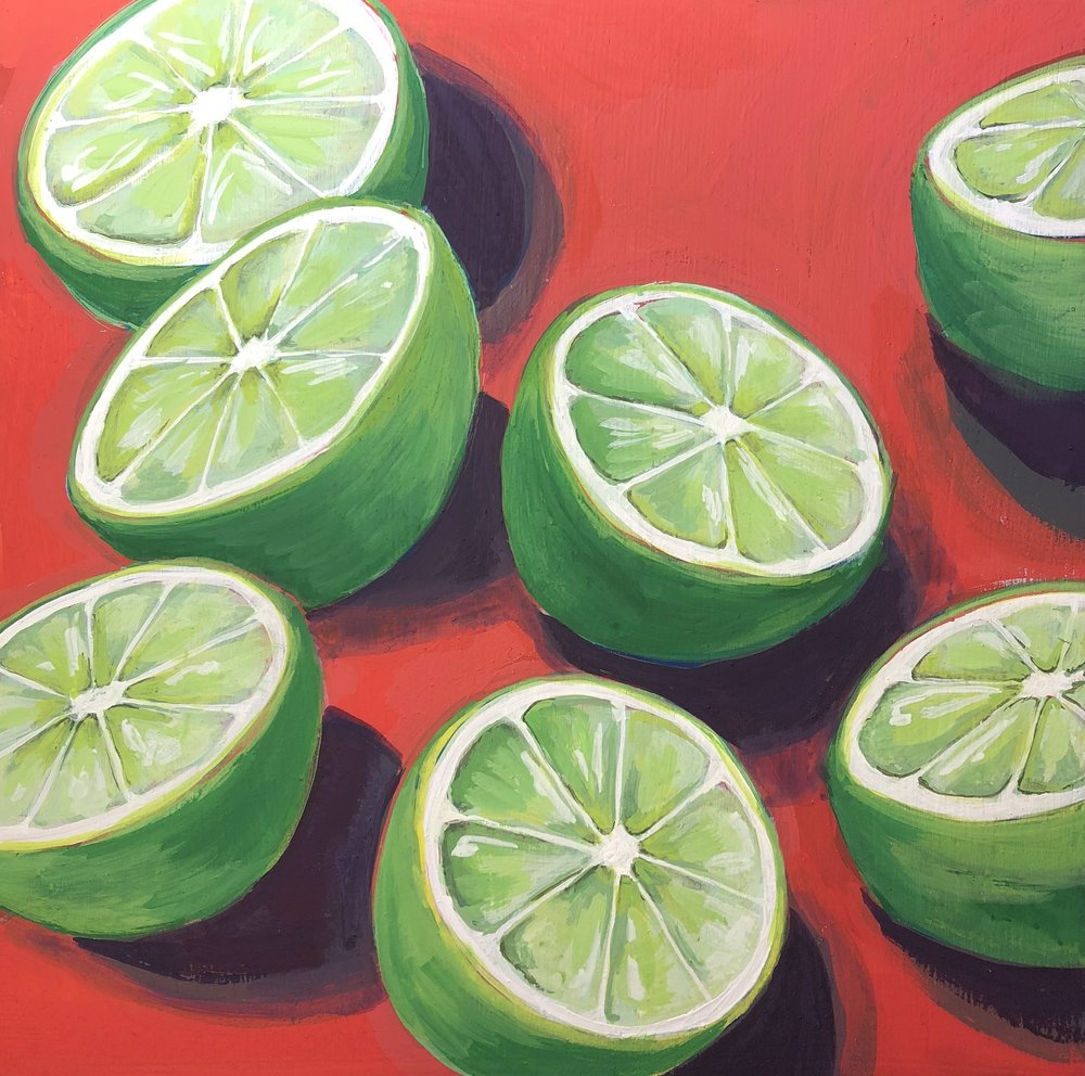 "Tanqueray Twist - 10"" x 10"" gouache on panel, framedSOLD"