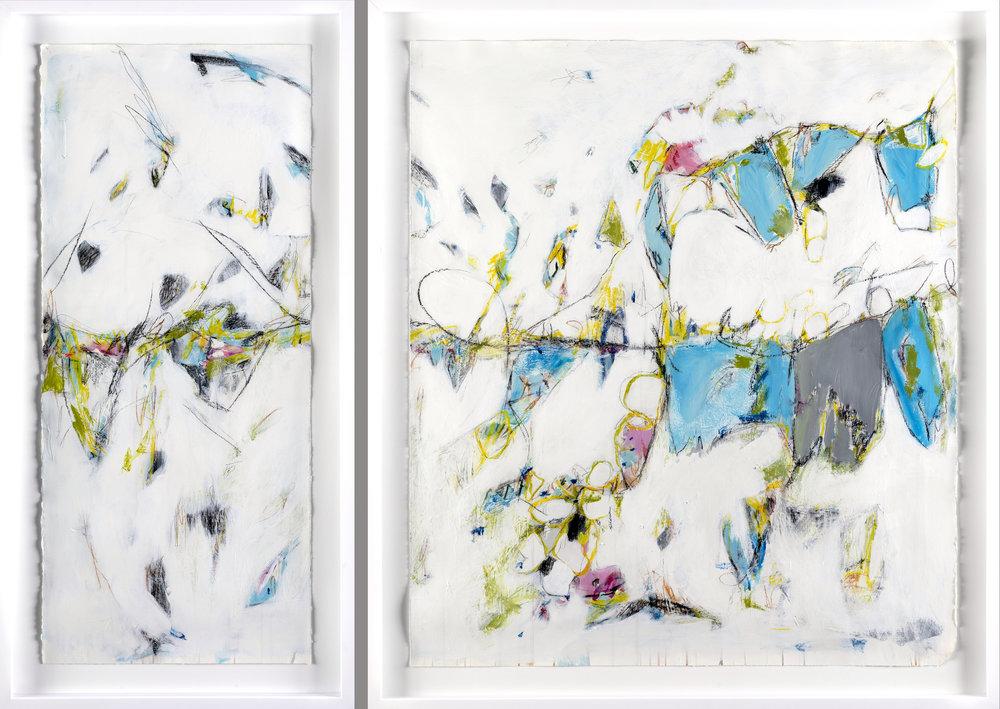 "Tribute to Cortona - 65.5"" x 45"" Mixed media on paper, framedSOLD"