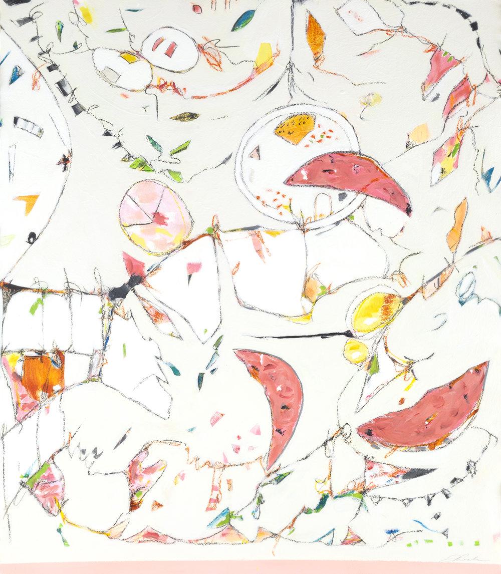 "Watermelon, Grapefruit & Bubble Gum - 36"" x 43""Mixed media on paper, framedSOLD"