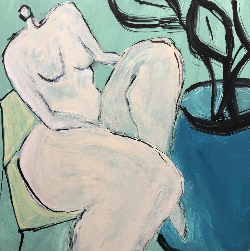 """Lady with Plant II - 8"""" x 8"""" acrylic on panel$325"""