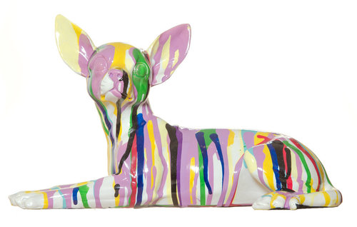 "Lazy Chihuahua  11"" hand painting ceramic $85"