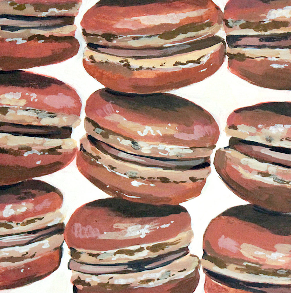 "Chocolat - Rachael Nerney10"" x 10"" gouache on panel$225Inspired by the Chocolate Macarons @ F.I.G"
