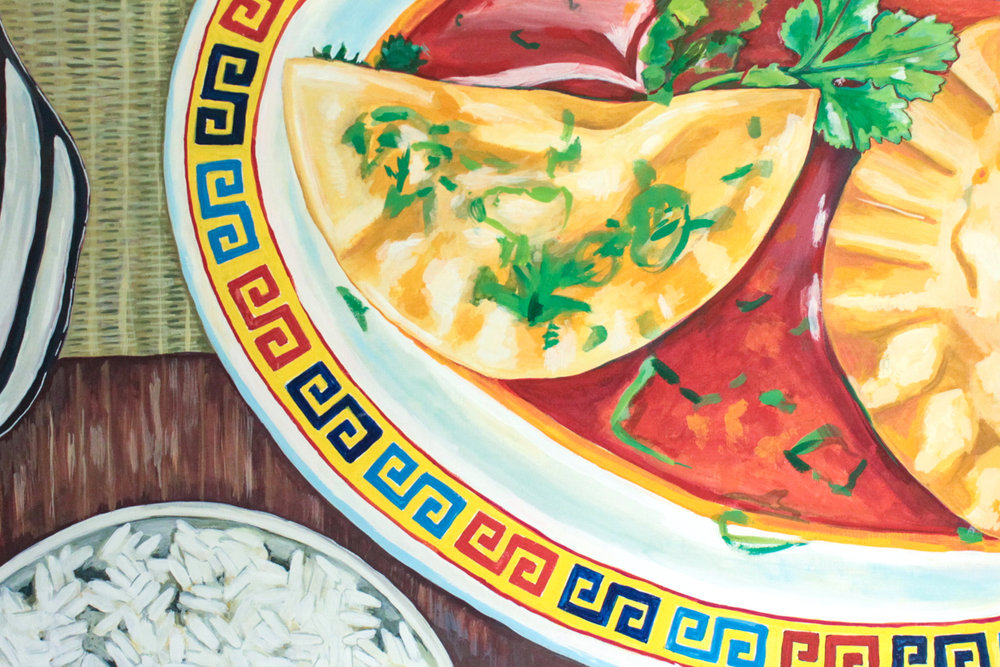 "Crescent - Rachael Nerney24"" x 36"" gouache on canvas, framed $1650Inspired by the Crescent Dumplings @ Kwei Fei"