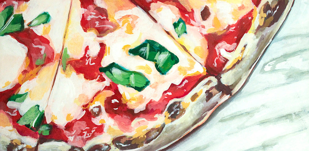 "Juliet - Rachael Nerney12"" x 24"" gouache on canvas, framed SOLDInspired by the Margherita Pizza @ Juliet"