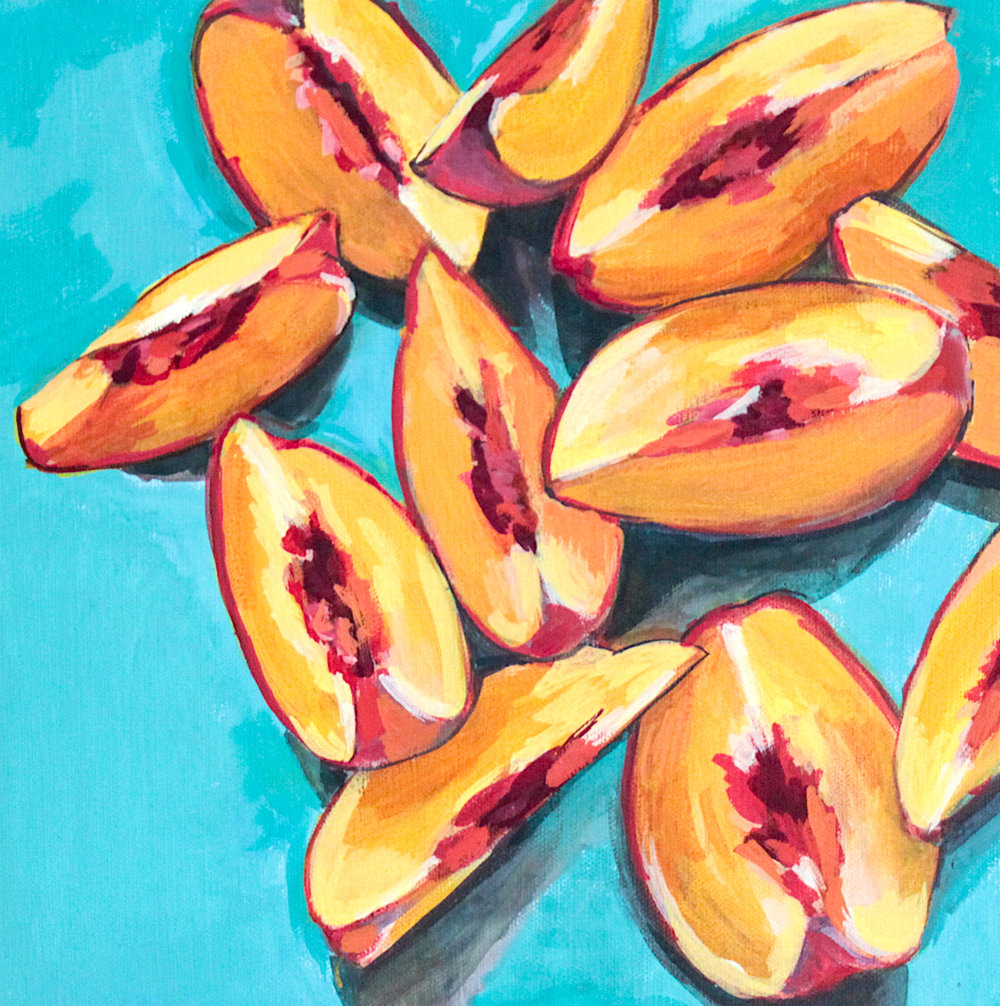 "Last Slices of Summer - Rachael Nerney12"" x 12"" gouache on canvas, framed$360Inspired by the Peach Slices from Seeds of Hope @ the James Island Farmers Market"