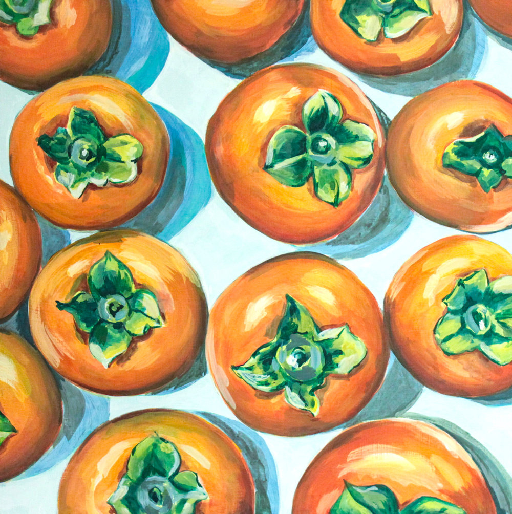 "Persimmons + Coppa - Rachael Nerney20"" x 20"" gouache on canvas, framed $800Inspired by the Persimmons & Coppa @ Babas on Cannon"