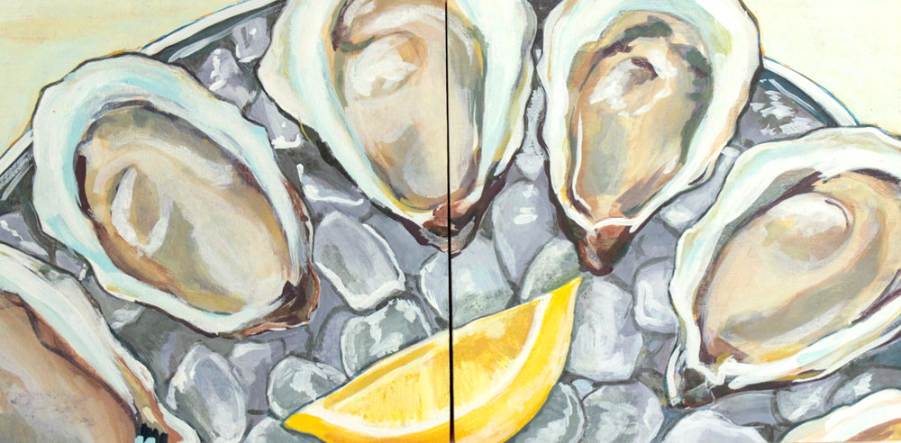 "Raw - Rachael Nerney10"" x 10"" each (diptych), gouache on panel, framed$450Inspired by the Nantucket Oysters @ 167 Raw"