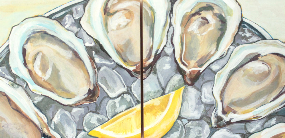 "Raw - 10"" x 10"" each (diptych), gouache on panel, framedSOLDInspired by the Nantucket Oysters @ 167 Raw"