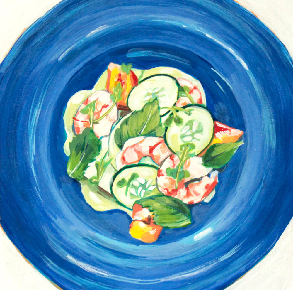 "Shiso Yuzo - 10"" x 10"" gouache on panel, framed SOLDInspired by the Poached Shrimp with Shiso Yuzo Aioli @ 167 Raw"