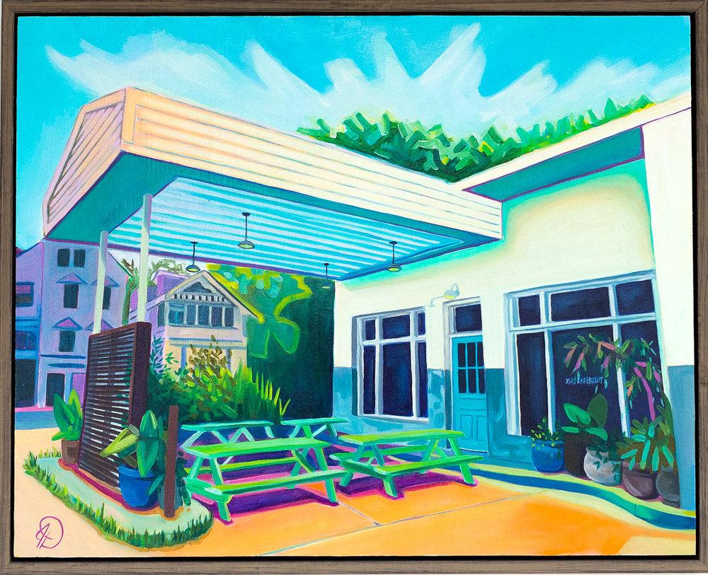 """Front Door Goals - 16"""" x 20"""" oil on wood panel, framedSOLDInspired by Xiao Bao Biscuit (exterior)"""