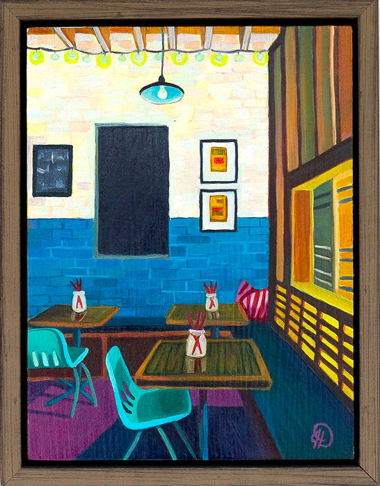 """Add Sticky Rice - 8'"""" x 6"""" oil on wood panel, framed$350Inspired by Xiao Bao Biscuit (interior)"""