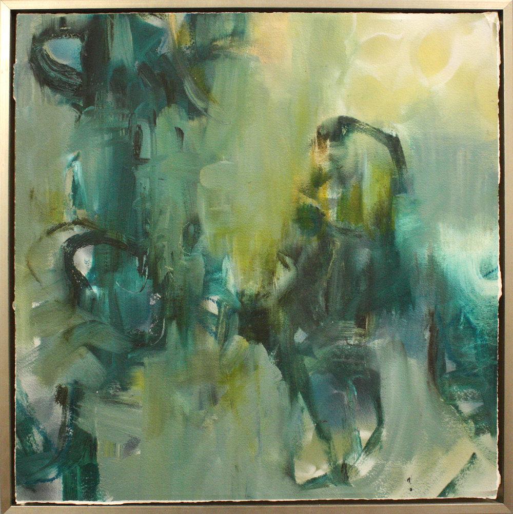 """Lush - 24"""" x 24"""" oil on paper, framed$1000"""