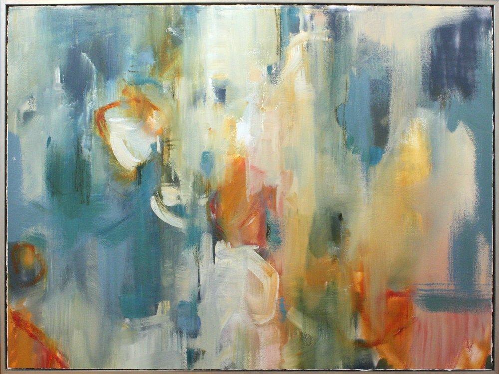 """Inside the Rainbow - 36"""" x 45"""" oil on paper, framedSOLD"""